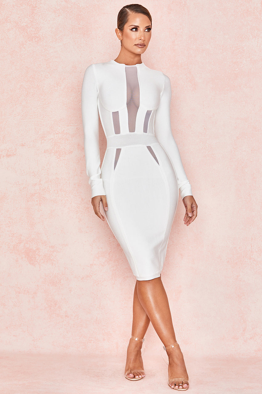 White Long Sleeve Mesh Bandage Dress