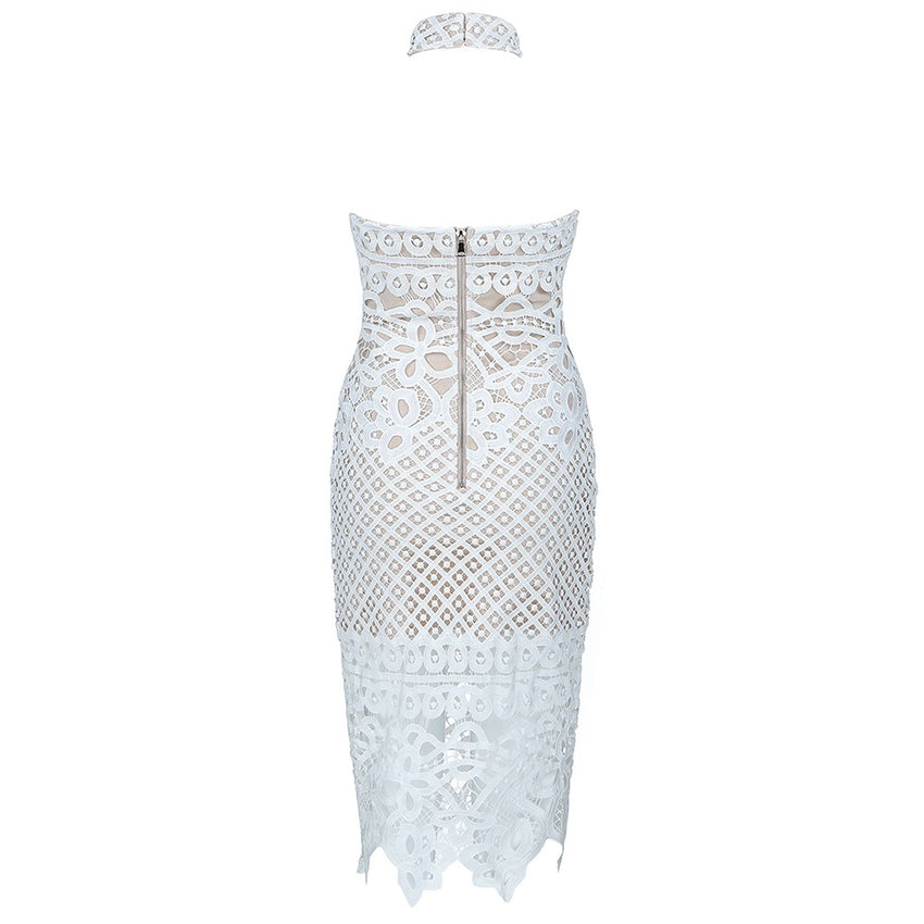 White Sleeveless Lace Bandage Dress