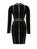 Gold Stud Detail Long Sleeve Bandage Dress - Rumor Apparel