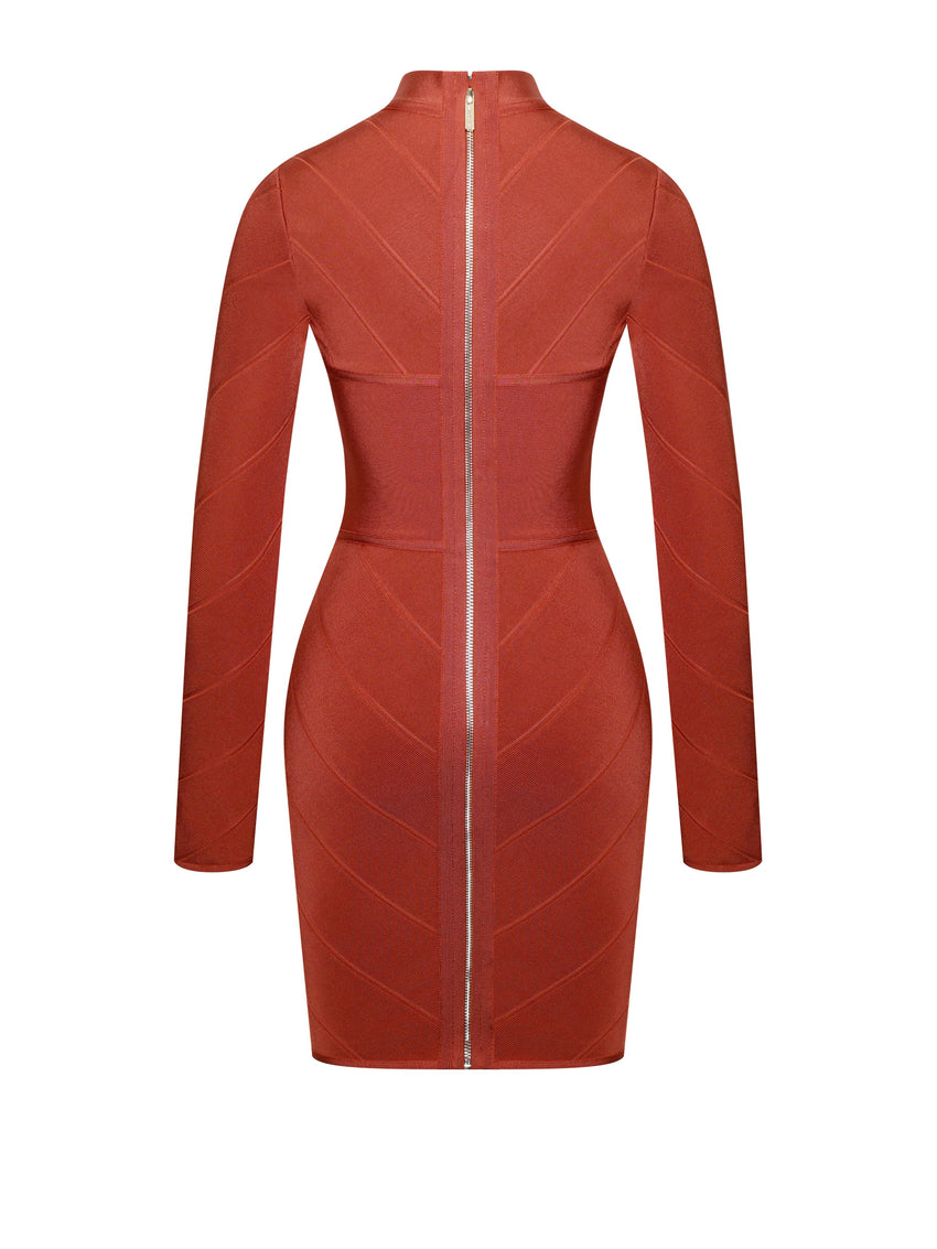 Rust Long Sleeve High Neck Bandage Dress