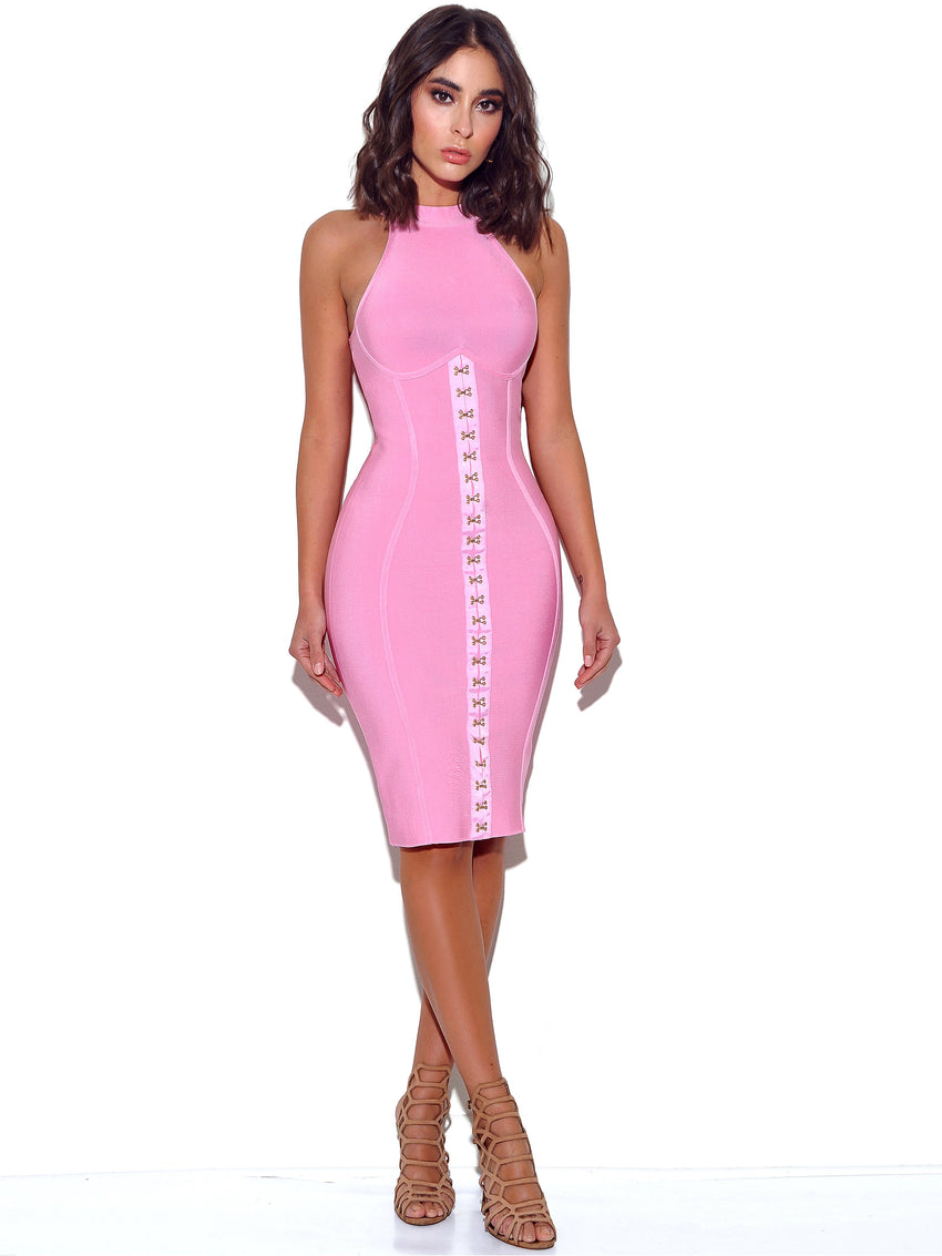 Pink Halter Bandage Dress