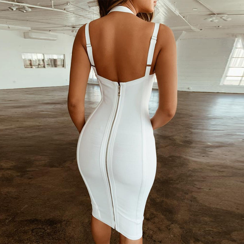 White Sleeveless Cocktail Bandage Dress - Rumor Apparel