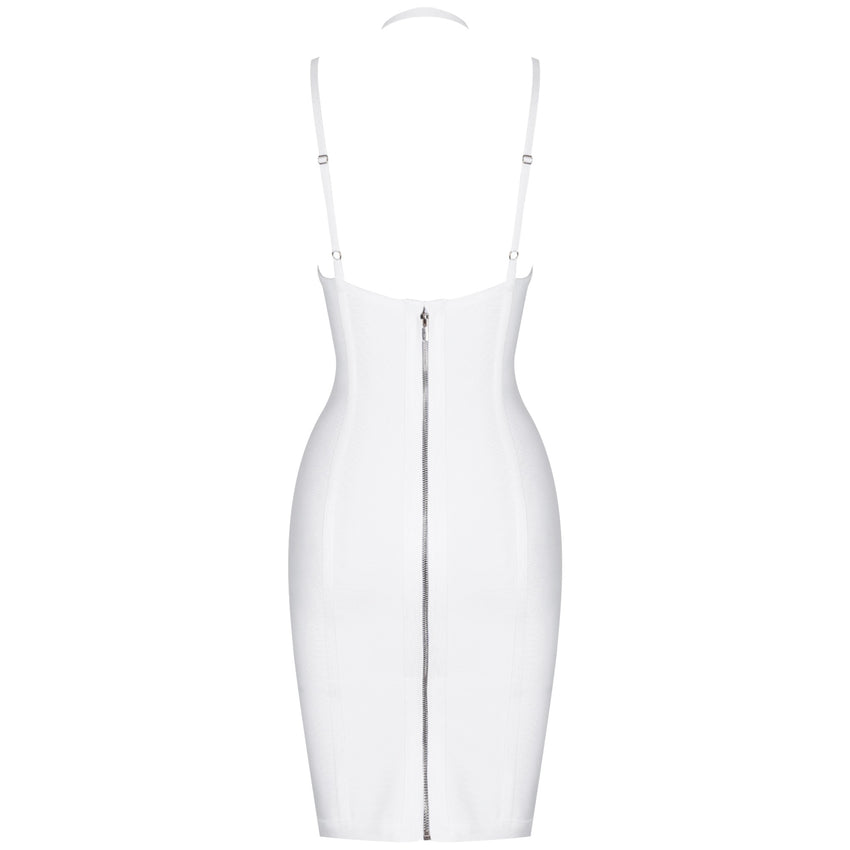 White Sleeveless Cocktail Bandage Dress