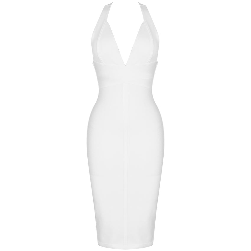 White Sleeveless Halter Bandage Dress