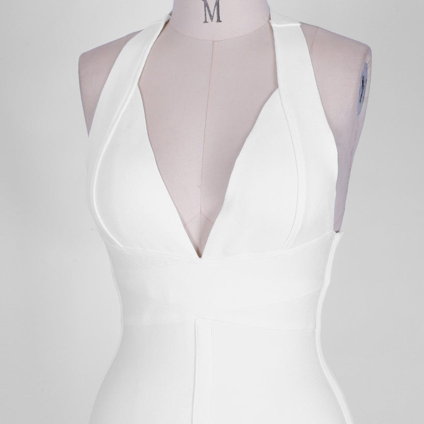White Sleeveless Halter Bandage Dress - Rumor Apparel