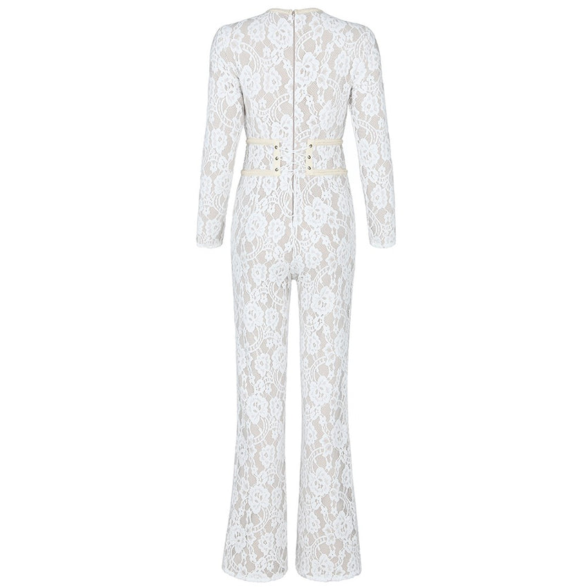 White Long Sleeve Lace Bandage Jumpsuit
