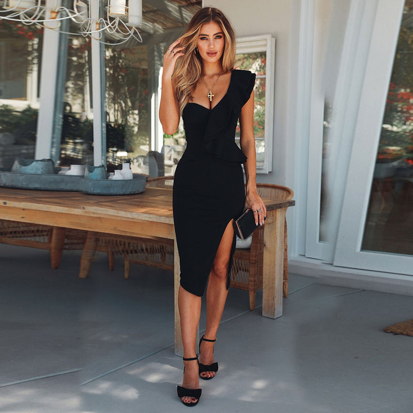 Black One Shoulder Side Slit Bandage Dress - Rumor Apparel