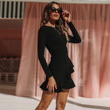 Black Long Sleeve Bandage Mini Dress - Rumor Apparel