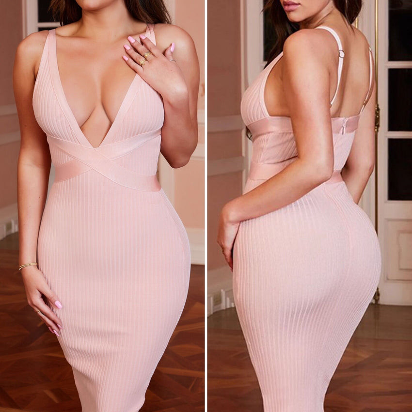 Pink V Neck Sleeveless Bandage Dress