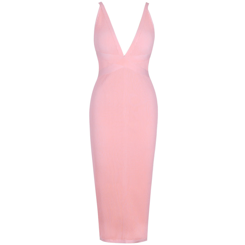 Pink V Neck Sleeveless Bandage Dress - Rumor Apparel