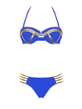 Blue and Gold Halter Neck Top and Lace Up Bottom Bikini Set - Rumor Apparel