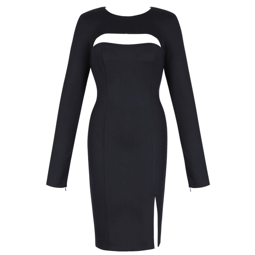 Black Long Sleeve Cutout Bandage Dress - Rumor Apparel