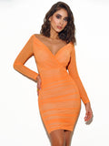 Mesh Wrap Off Shoulder Dress - Rumor Apparel