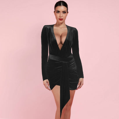 Black Long Sleeve Deep V Neck Bodycon Dress - Rumor Apparel