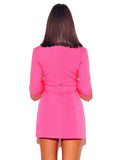 Hot Pink Long Sleeve Blazer Dress - Rumor Apparel