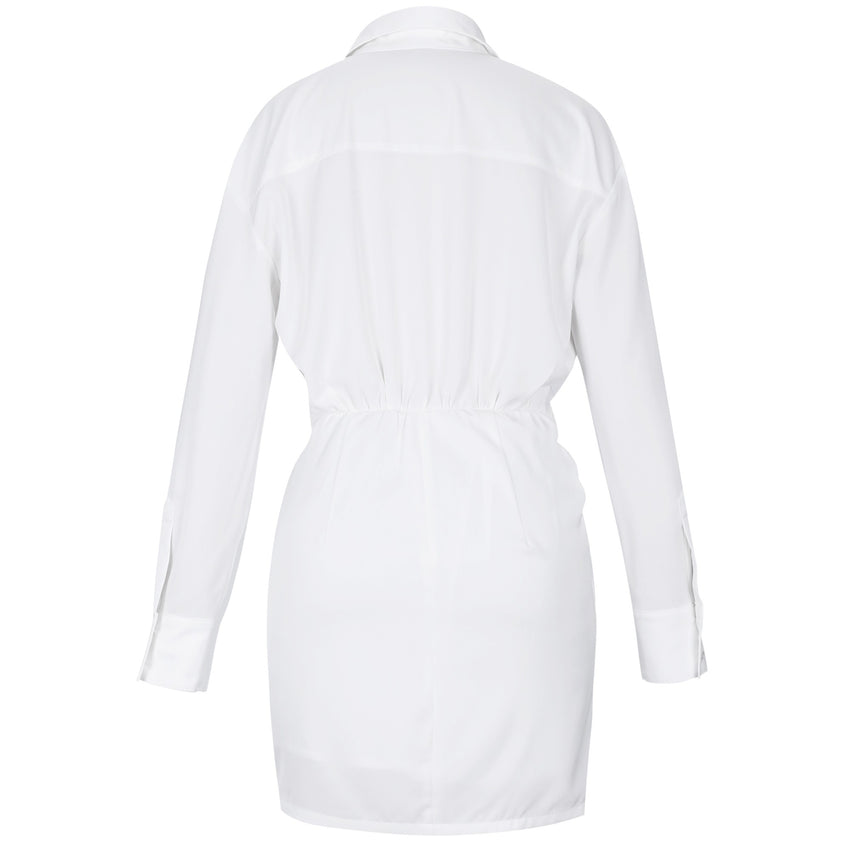 White Long Sleeve Deep V Neck Bodycon Mini Dress