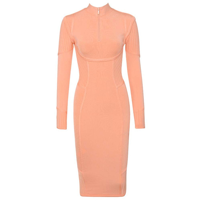Long Sleeve Zip Neck Midi Bandage Dress - Rumor Apparel