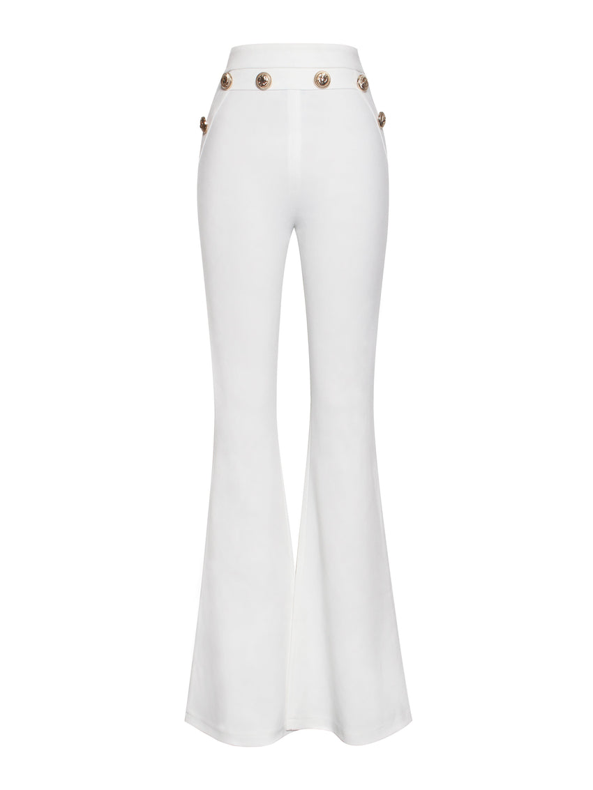 Gold Button Detail High Waisted White Flared Stretch Crepe Pants - Rumor Apparel