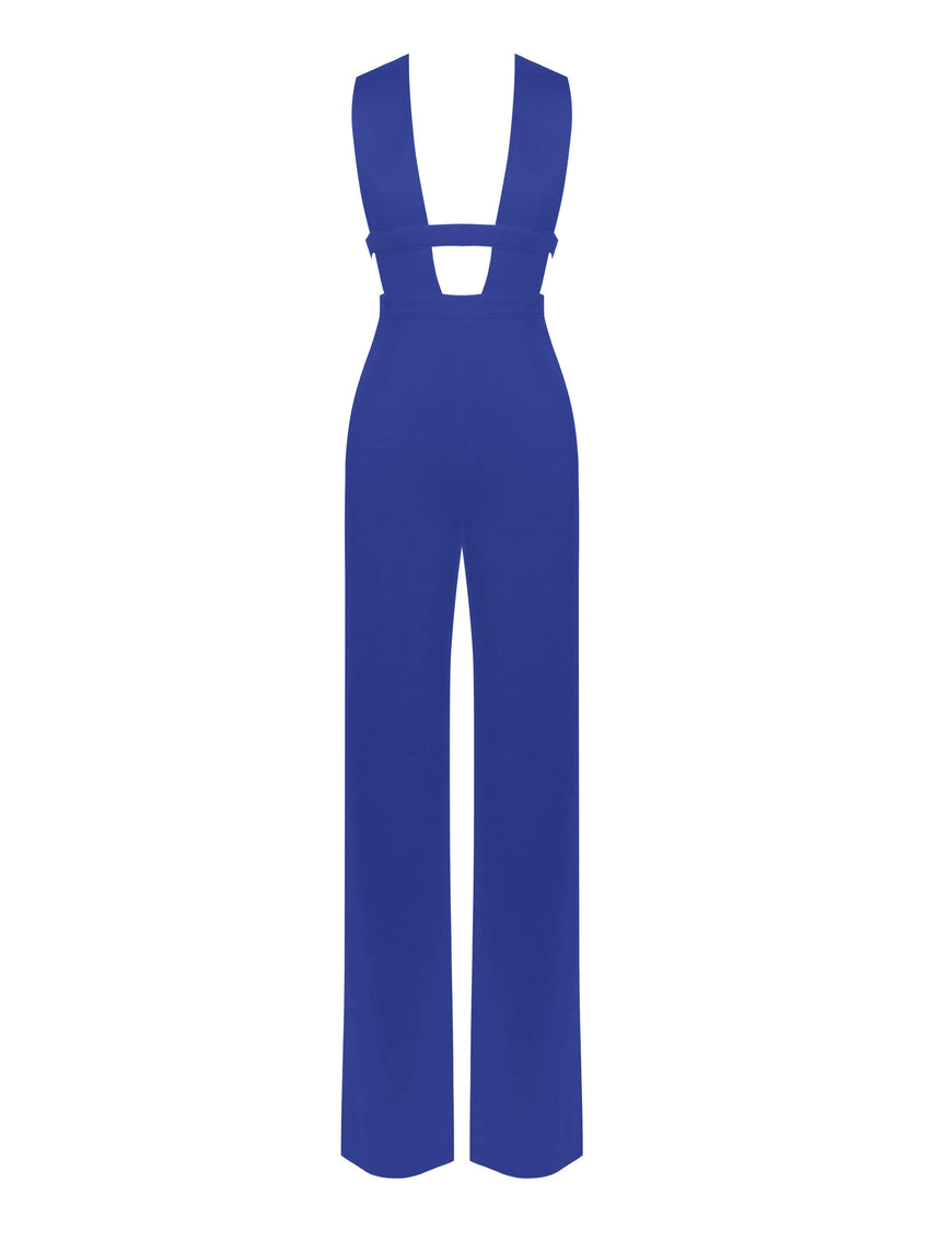 Blue Deep V Cut Out Stretch Crepe Jumpsuit - Rumor Apparel