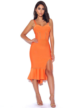 Side Slit Ruffle Detail Peach Bandage Dress