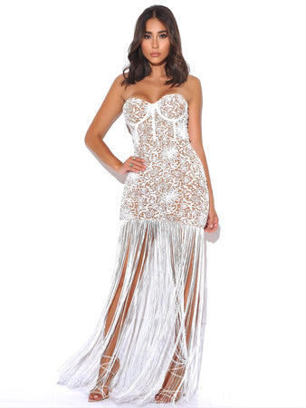White Lace Long Fringed Strapless Dress - Rumor Apparel
