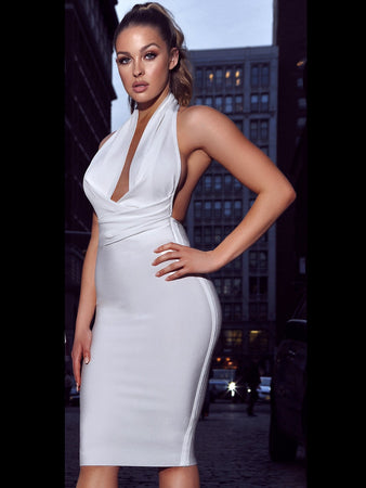 White Halter Neck Backless Bandage Dress