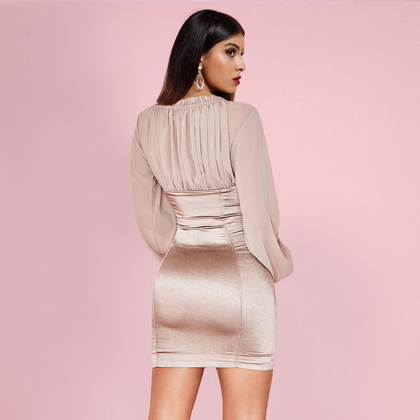 Nude Long Sleeve Mini Bodycon Dress