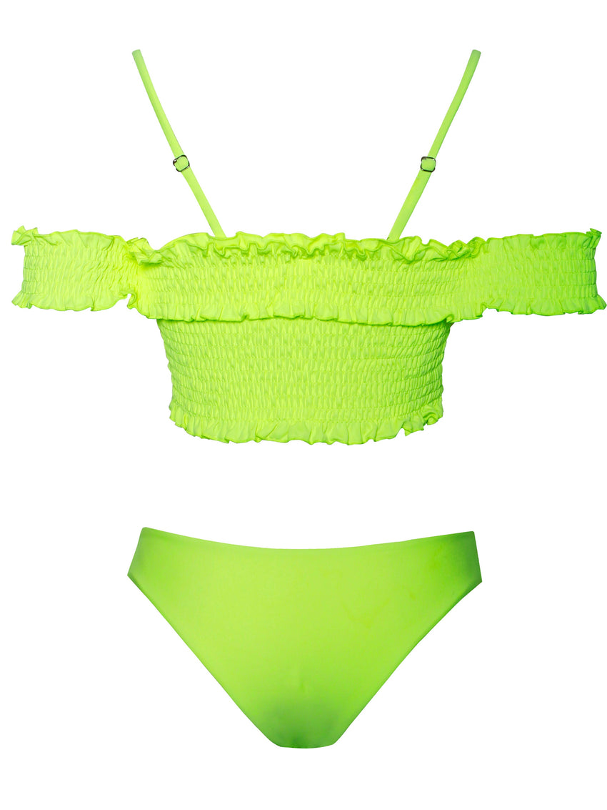 Off Shoulder Lace Up Neon Green Two Piece Swimsuit