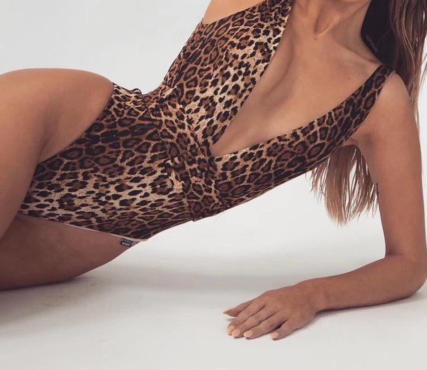 Leopard Print Deep-V One-Piece Swimsuit - Rumor Apparel