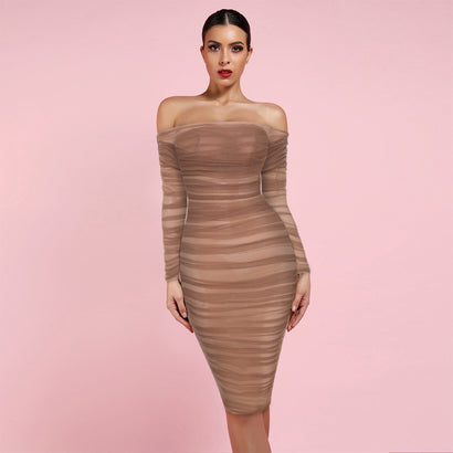Brown Off Shoulder Long Sleeve Mesh Bodycon Dress - Rumor Apparel