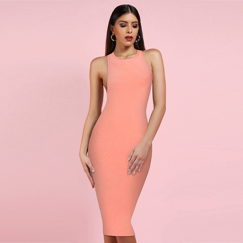 Round Neck Sleeveless Cutout Back Midi Bandage Dress