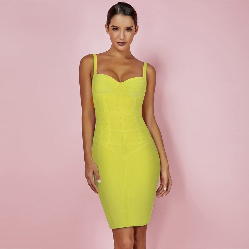Yellow Strappy Mini Bandage Dress - Rumor Apparel
