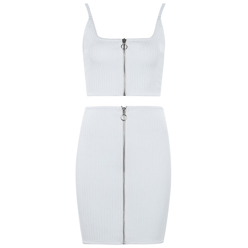 White Two Piece Spaghetti Strap Top & Mini Skirt