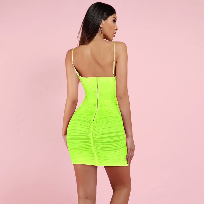 Neon Green Strappy Mesh Bodycon Mini Dress - Rumor Apparel