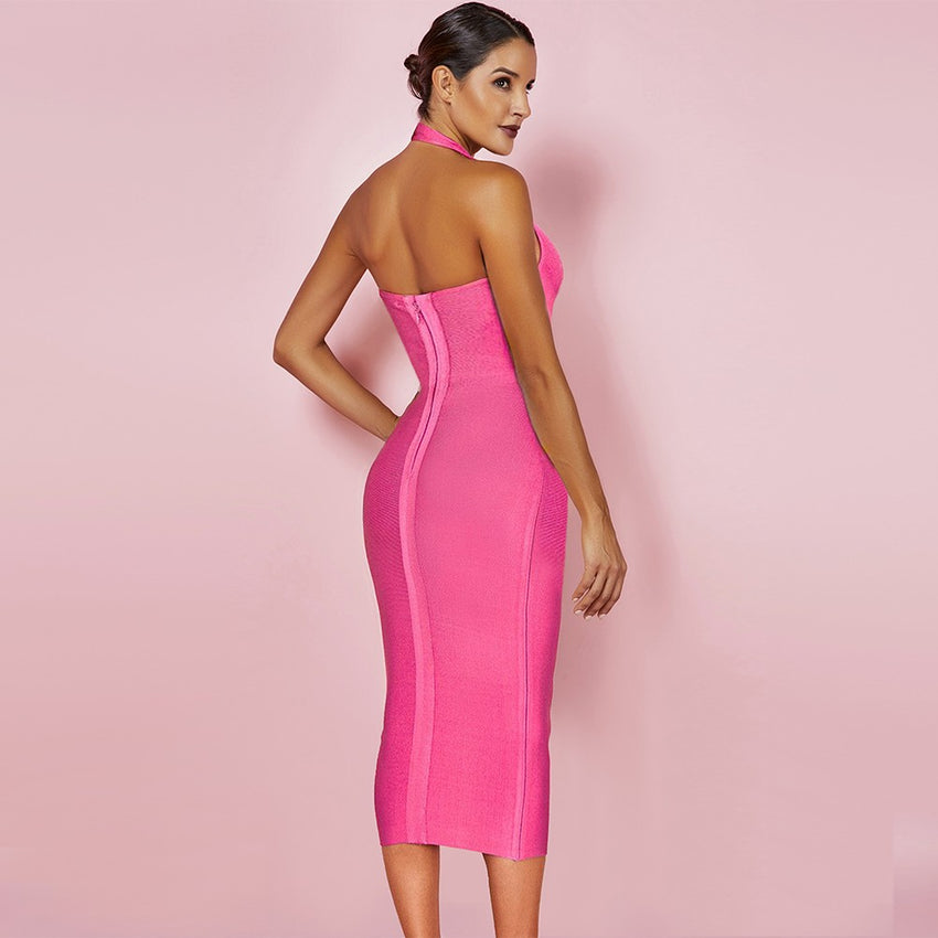 Neon Pink V Neck Halter Bandage Midi Dress - Rumor Apparel