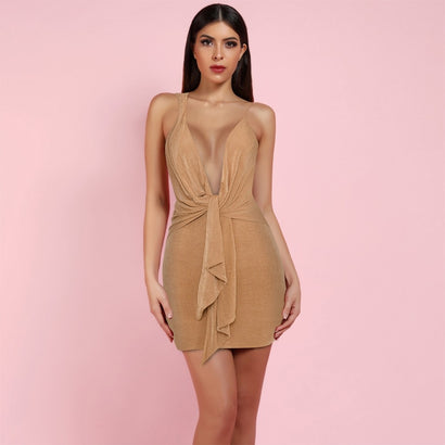 V Neck Sleeveless Mini Bodycon Dress