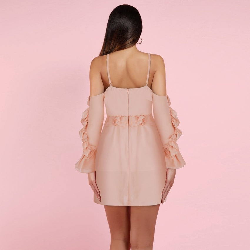 Off Shoulder Long Sleeve Mini Dress - Rumor Apparel