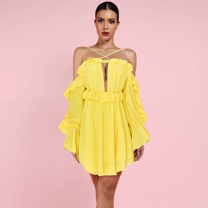 Yellow Off Shoulder Long Sleeve Mini Dress