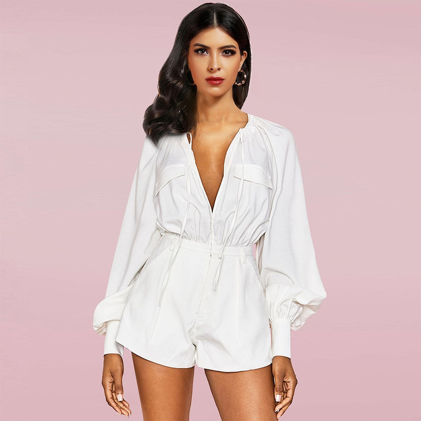 White Long Sleeve V Neck Romper - Rumor Apparel