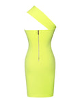 Neon Lime One Shoulder Wrap Stretch Crepe Dress