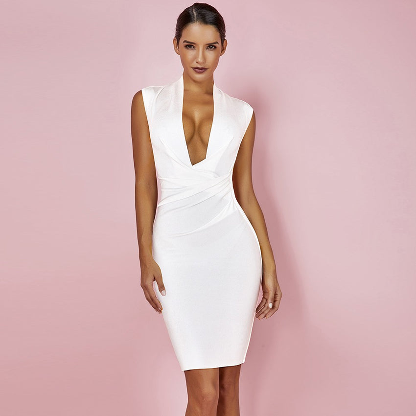 White Sleeveless Deep V Neck Bandage Dress - Rumor Apparel