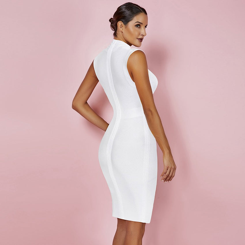 White Sleeveless Deep V Neck Bandage Dress