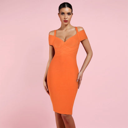 Orange Off Shoulder Midi Bandage Dress