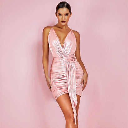 Pink V Neck Criss Cross Back Bodycon Mini Dress