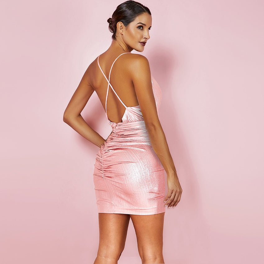 Pink V Neck Criss Cross Back Bodycon Mini Dress - Rumor Apparel