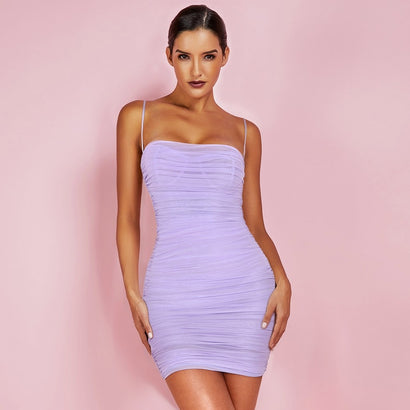 Lavender Spaghetti Strap Bodycon Mini Dress - Rumor Apparel