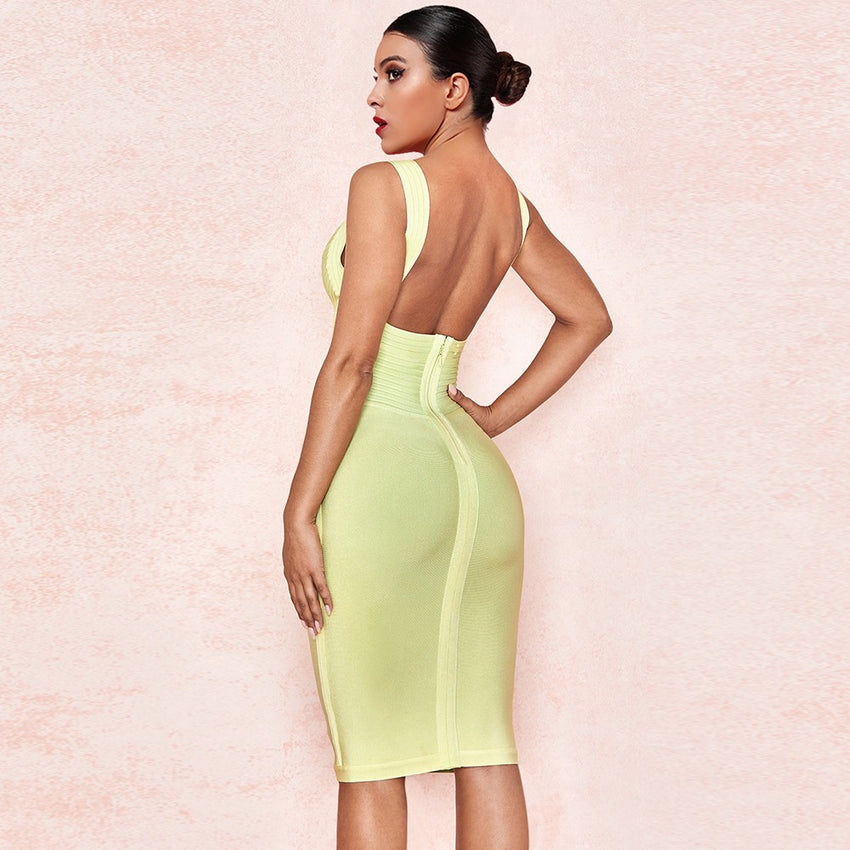 Light Yellow Elegant Mini Bandage Dress - Rumor Apparel