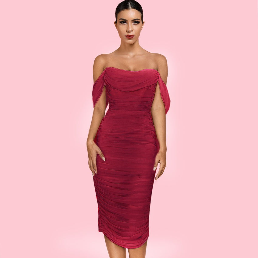 Red Off Shoulder Midi Bandage Dress - Rumor Apparel