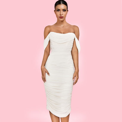 White Off Shoulder Midi Bandage Dress