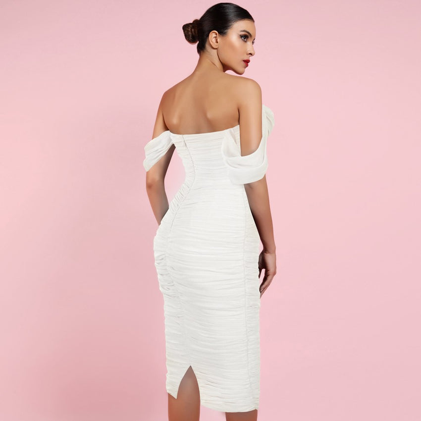 White Off Shoulder Midi Bandage Dress - Rumor Apparel